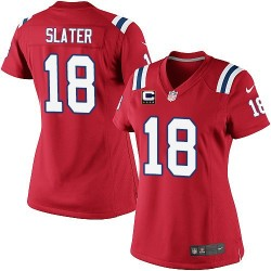 New England Patriots Matthew Slater Official Nike Red Elite Women's Alternate C Patch NFL Jersey