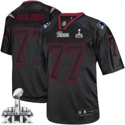 New England Patriots Nate Solder Official Nike Lights Out Black Elite Adult Super Bowl XLIX NFL Jersey