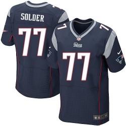 New England Patriots Nate Solder Official Nike Navy Blue Elite Adult Home NFL Jersey