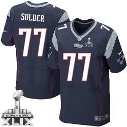 New England Patriots Nate Solder Official Nike Navy Blue Elite Adult Home Super Bowl XLIX NFL Jersey