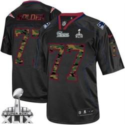 New England Patriots Nate Solder Official Nike Black Elite Adult Camo Fashion Super Bowl XLIX NFL Jersey