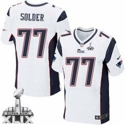 New England Patriots Nate Solder Official Nike White Elite Adult Road Super Bowl XLIX NFL Jersey