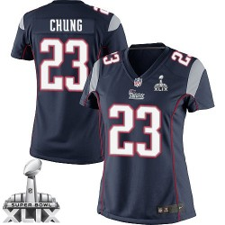 New England Patriots Patrick Chung Official Nike Navy Blue Elite Women's Home Super Bowl XLIX NFL Jersey