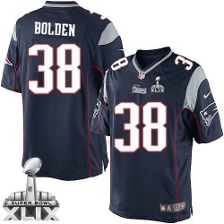 New England Patriots Brandon Bolden Official Nike Navy Blue Limited Adult Home Super Bowl XLIX NFL Jersey