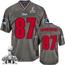 New England Patriots Rob Gronkowski Official Nike Grey Elite Adult Vapor  Super Bowl XLIX NFL Jersey a8f6f48db
