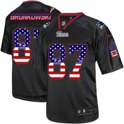 New England Patriots Rob Gronkowski Official Nike Black Elite Adult USA Flag Fashion NFL Jersey