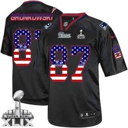 New England Patriots Rob Gronkowski Official Nike Black Elite Adult USA Flag Fashion Super Bowl XLIX NFL Jersey