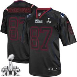 New England Patriots Rob Gronkowski Official Nike Lights Out Black Elite Adult Super Bowl XLIX NFL Jersey