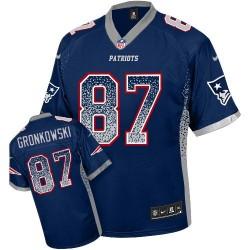 New England Patriots Rob Gronkowski Official Nike Navy Blue Elite Adult Drift Fashion NFL Jersey