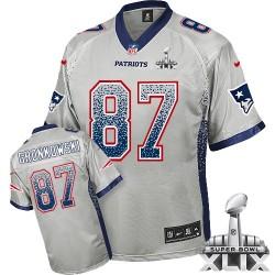 New England Patriots Rob Gronkowski Official Nike Grey Elite Adult Drift Fashion Super Bowl XLIX NFL Jersey