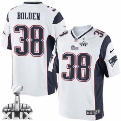 New England Patriots Brandon Bolden Official Nike White Limited Adult Road Super Bowl XLIX NFL Jersey