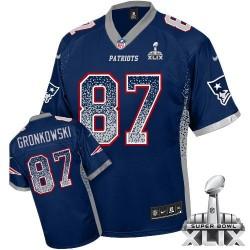 New England Patriots Rob Gronkowski Official Nike Navy Blue Elite Adult Drift Fashion Super Bowl XLIX NFL Jersey