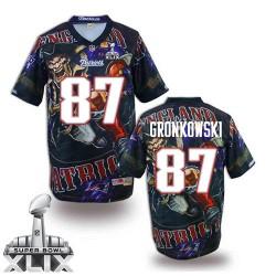 New England Patriots Rob Gronkowski Official Nike Navy Blue Elite Adult Fanatical Version Super Bowl XLIX NFL Jersey
