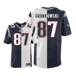 New England Patriots Rob Gronkowski Official Nike Two Tone Elite Adult  Team Road NFL Jersey a7f6a9132