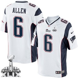 New England Patriots Ryan Allen Official Nike White Limited Adult Road Super Bowl XLIX NFL Jersey