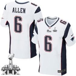 New England Patriots Ryan Allen Official Nike White Elite Adult Road Super Bowl XLIX NFL Jersey