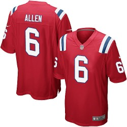 New England Patriots Ryan Allen Official Nike Red Game Adult Alternate NFL Jersey