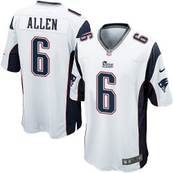 New England Patriots Ryan Allen Official Nike White Game Adult Road NFL Jersey