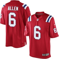 New England Patriots Ryan Allen Official Nike Red Limited Adult Alternate NFL Jersey