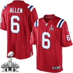 New England Patriots Ryan Allen Official Nike Red Limited Adult Alternate Super Bowl XLIX NFL Jersey