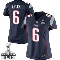 New England Patriots Ryan Allen Official Nike Navy Blue Elite Women's Home Super Bowl XLIX NFL Jersey