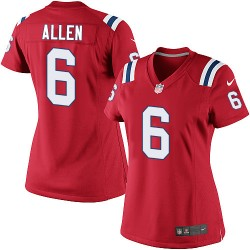 New England Patriots Ryan Allen Official Nike Red Limited Women's Alternate NFL Jersey
