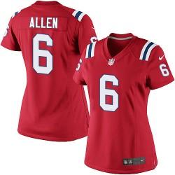 New England Patriots Ryan Allen Official Nike Red Elite Women's Alternate NFL Jersey