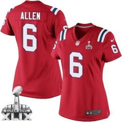 New England Patriots Ryan Allen Official Nike Red Elite Women's Alternate Super Bowl XLIX NFL Jersey