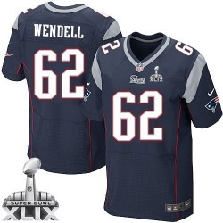 New England Patriots Ryan Wendell Official Nike Navy Blue Elite Adult Home Super Bowl XLIX NFL Jersey