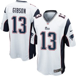 New England Patriots Brandon Gibson Official Nike White Game Adult Road NFL Jersey