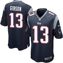 New England Patriots Brandon Gibson Official Nike Navy Blue Game Adult Home NFL Jersey