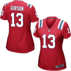 New England Patriots Brandon Gibson Official Nike Red Game Women's Alternate NFL Jersey