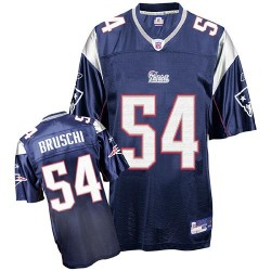 New England Patriots Tedy Bruschi Official Reebok Navy Blue Authentic Adult Home Throwback NFL Jersey