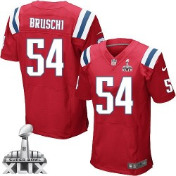 New England Patriots Tedy Bruschi Official Nike Red Elite Adult Alternate Super Bowl XLIX NFL Jersey