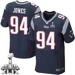 New England Patriots Chris Jones Official Nike Navy Blue Elite Adult Home Super Bowl XLIX NFL Jersey