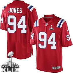New England Patriots Chris Jones Official Nike Red Limited Adult Alternate Super Bowl XLIX NFL Jersey
