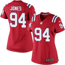 New England Patriots Chris Jones Official Nike Red Elite Women's Alternate NFL Jersey