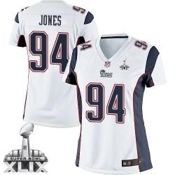 New England Patriots Chris Jones Official Nike White Elite Women's Road Super Bowl XLIX NFL Jersey