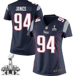 New England Patriots Chris Jones Official Nike Navy Blue Elite Women's Home Super Bowl XLIX NFL Jersey