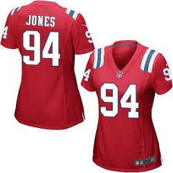New England Patriots Chris Jones Official Nike Red Game Women's Alternate NFL Jersey