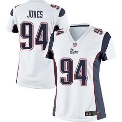 New England Patriots Chris Jones Official Nike White Limited Women's Road NFL Jersey