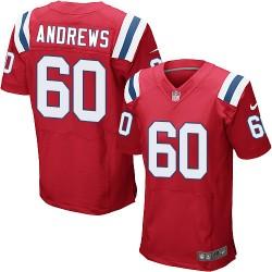 New England Patriots David Andrews Official Nike Red Elite Adult Alternate NFL Jersey