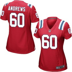 New England Patriots David Andrews Official Nike Red Game Women's Alternate NFL Jersey