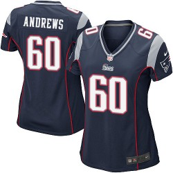 New England Patriots David Andrews Official Nike Navy Blue Game Women's Home NFL Jersey