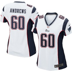 New England Patriots David Andrews Official Nike White Game Women's Road NFL Jersey
