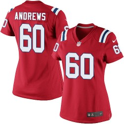 New England Patriots David Andrews Official Nike Red Limited Women's Alternate NFL Jersey