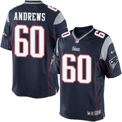 New England Patriots David Andrews Official Nike Navy Blue Elite Youth Home NFL Jersey