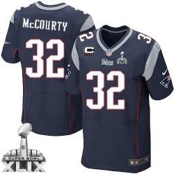 New England Patriots Devin McCourty Official Nike Navy Blue Elite Adult Home C Patch Super Bowl XLIX NFL Jersey