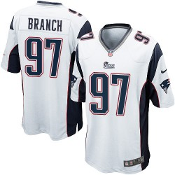 New England Patriots Alan Branch Official Nike White Game Adult Road NFL Jersey