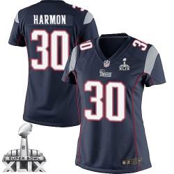 New England Patriots Duron Harmon Official Nike Navy Blue Elite Women's Home Super Bowl XLIX NFL Jersey